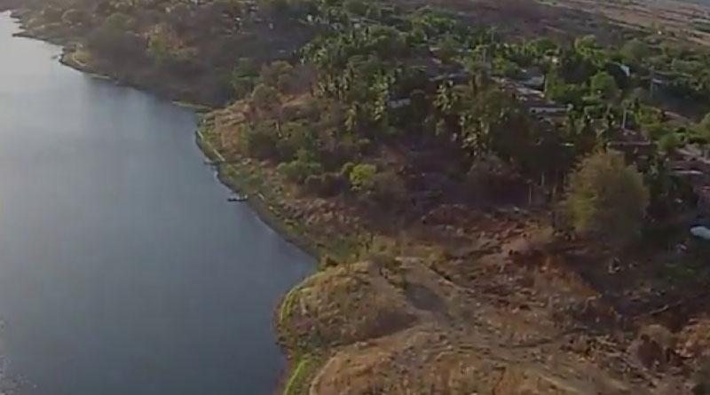 Visão Aérea do açude e distrito de São Gonçalo - Sousa/PB